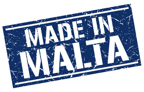 stencilStamp4MadeBlue made in Malta stamp blue silhouettes stock illustrations