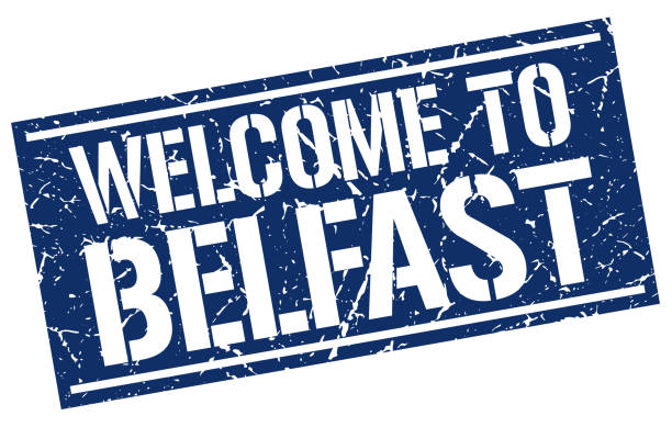 stencilStamp4WelcomeBlue welcome to Belfast stamp blue silhouettes stock illustrations