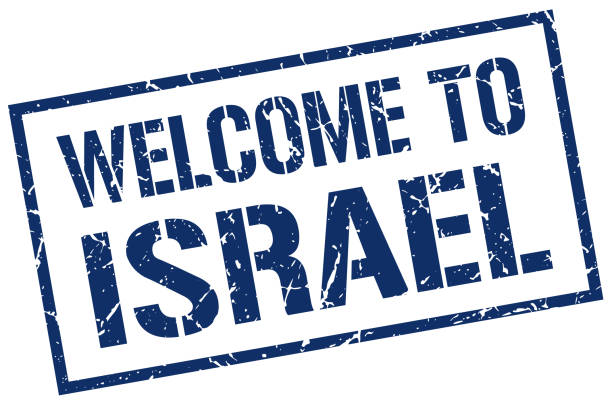 stencilstampWelcomeBlue welcome to Israel stamp blue silhouettes stock illustrations