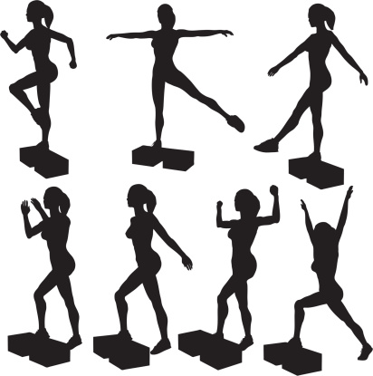 Step Aerobics Silhouette Collection(vector+jpg)