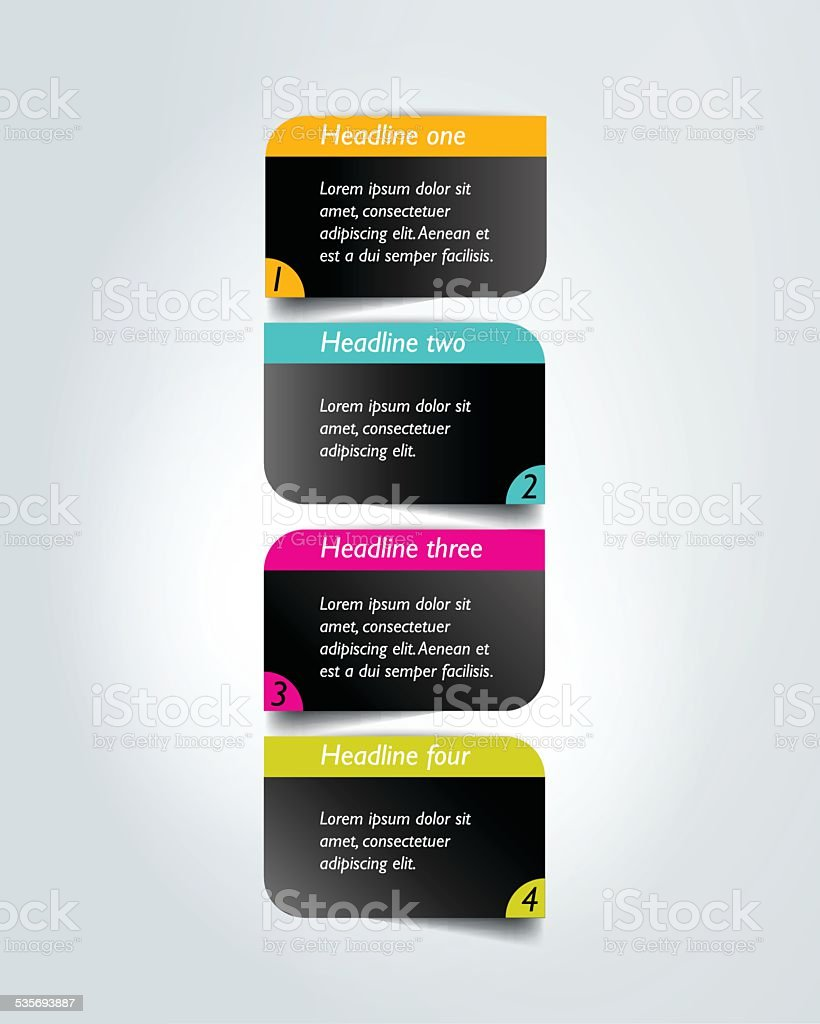 Step by step diagram. Infographic flat tab. vector art illustration