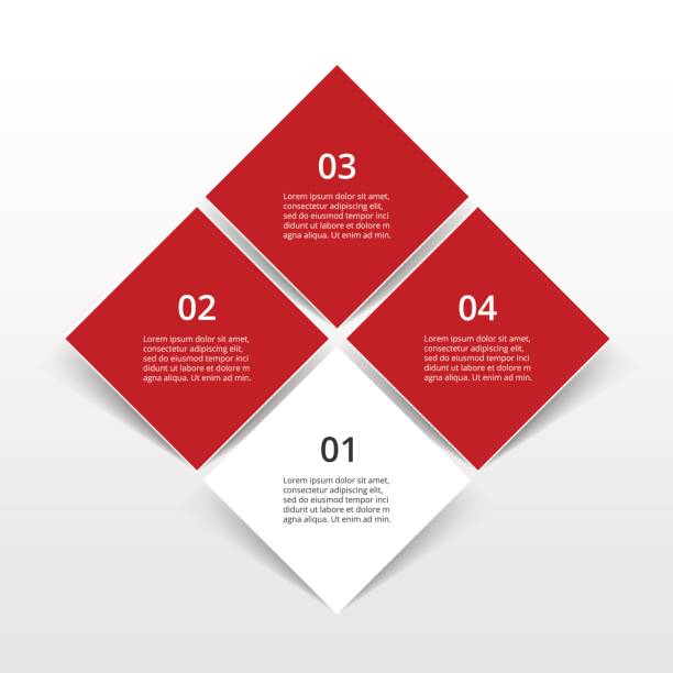 Step by step infographic. Step by step infographic design. Template with 4 numbers and text can be used for workflow layout, diagram, chart, number options, web design, business presentation, trainings. four people stock illustrations