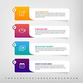 Step by step infographics template with modern gradients, paper frames and set of icons - vector illustration