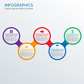 Step by step infographics template. Vector illustration with 5 steps, options or levels.