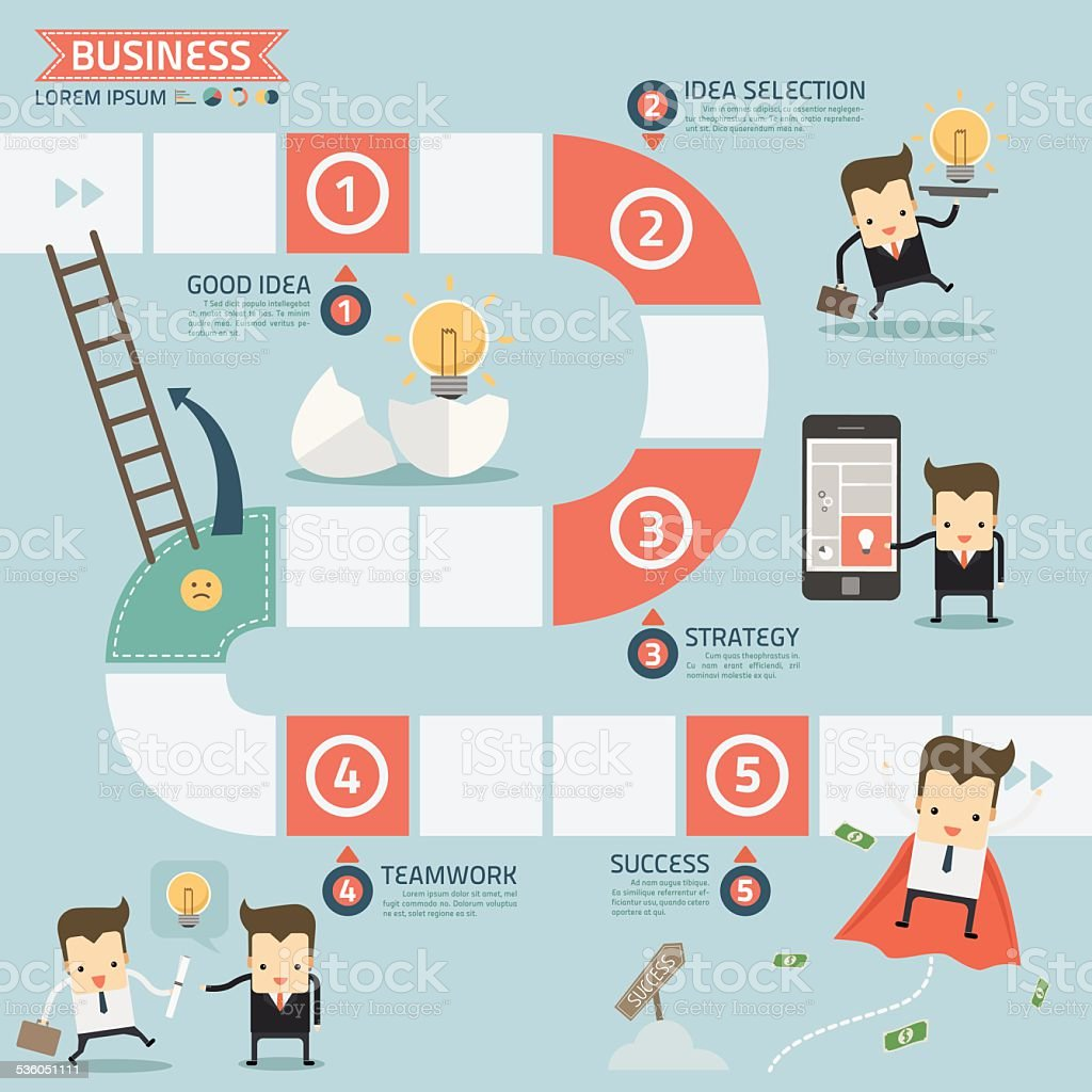 step for success business concept vector art illustration