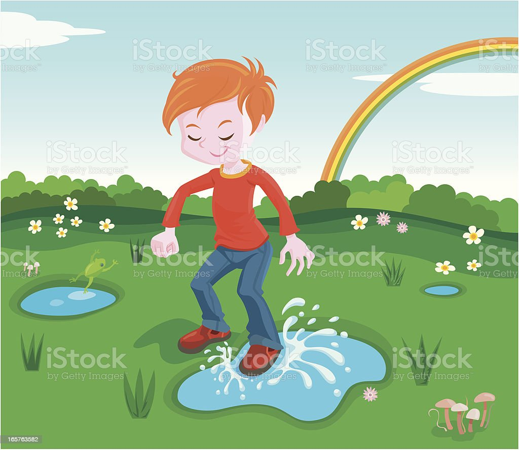 step in a puddle royalty-free stock vector art