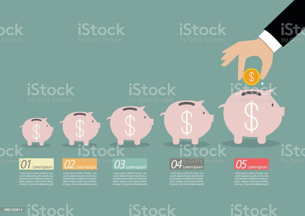 Step of business hand insert coin into the piggy bank infographic vector art illustration