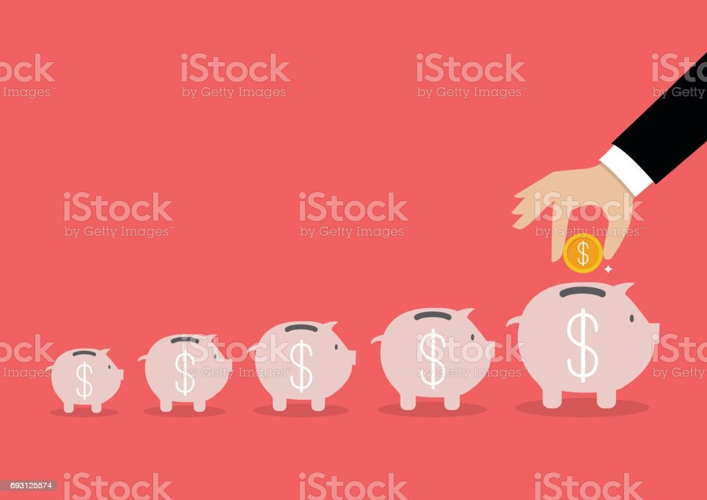 Step of business hand insert coin into the piggy bank vector art illustration