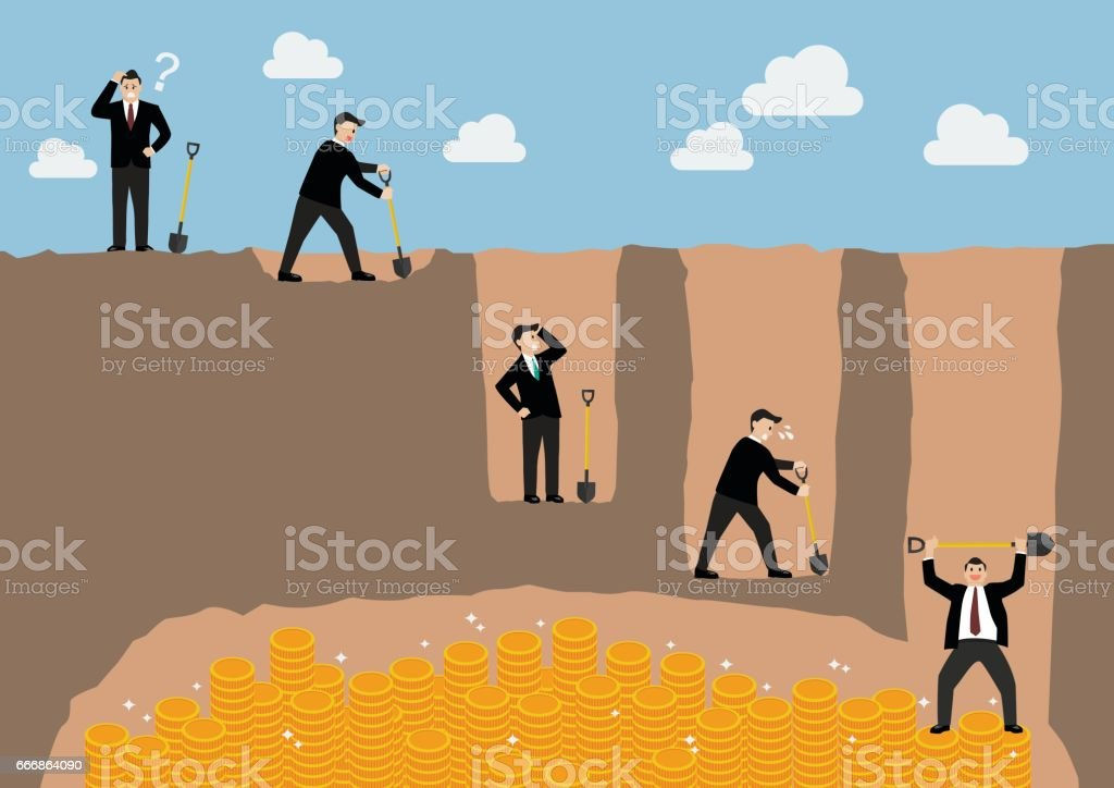 Step of businessman digging a ground to find treasure vector art illustration