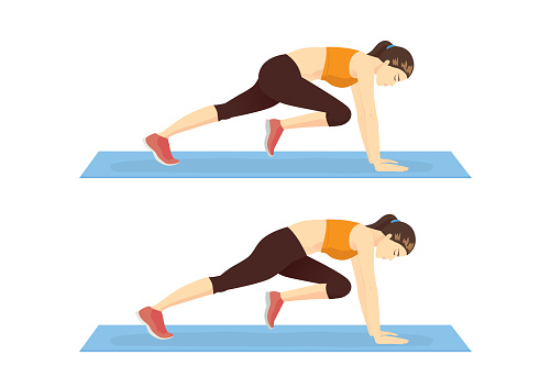 Step of doing the Mountain climber exercise by healthy woman.