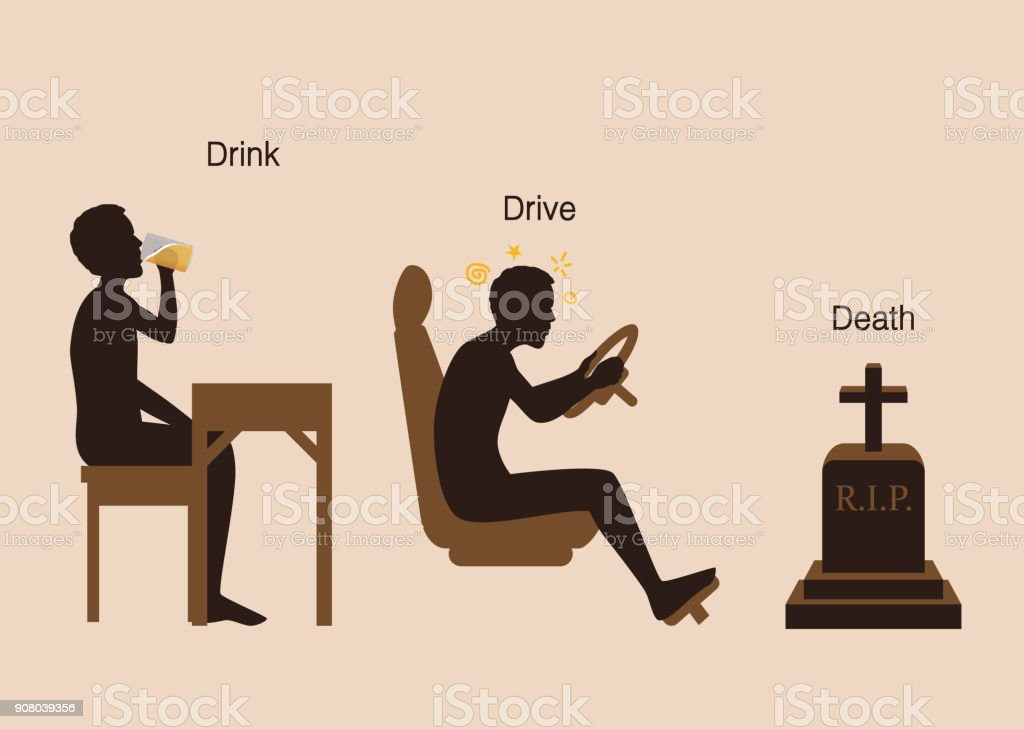 Step of Man drink beer and drive and death in the end. vector art illustration