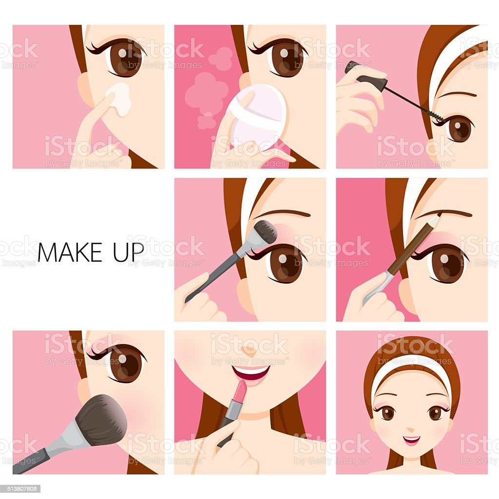 Step To Make Up For Woman vector art illustration