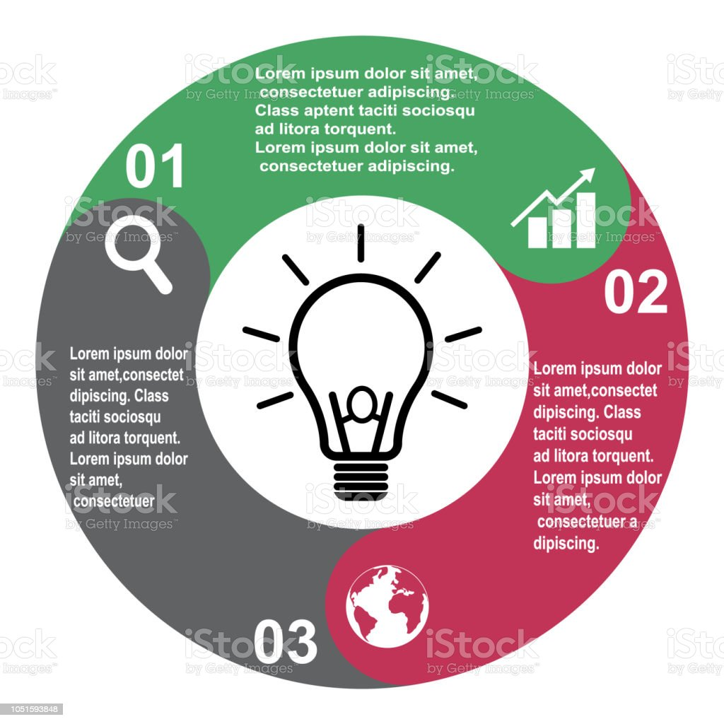 3 Step Vector Element In Three Colors With Labels Infographic Diagram Of The Incandescent Light How Flourescent Business Concept