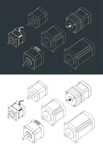 Stepper Motors Isometric Drawing Set
