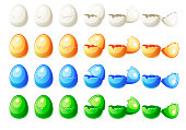 7 Steps animations different colors broken egg in vector