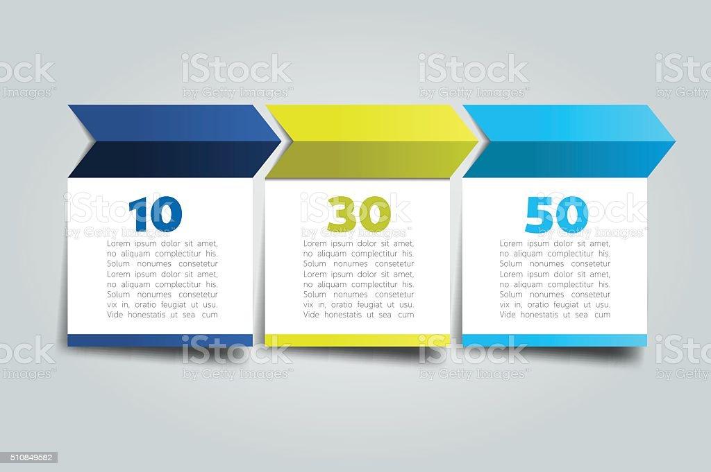 3 pasos flecha tutorial, gráfico, diagrama. Uno, dos, tres concepto. - ilustración de arte vectorial