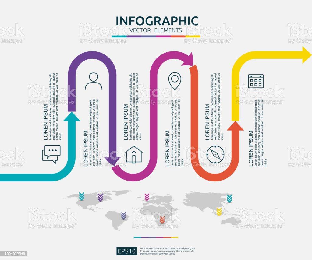 六つのステップ ビジネス インフォ グラフィック矢印要素で世界地図ピン