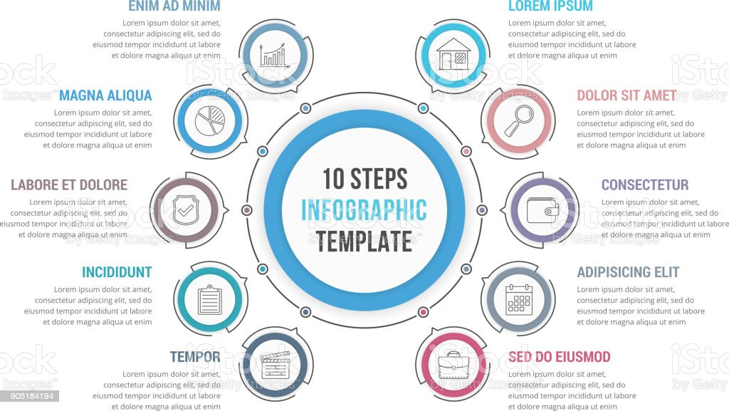 10 Steps - Circle Infographics vector art illustration