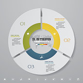 3 steps cycle chart infographics elements. EPS 10. For data presentation.