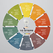 10 steps cycle chart infographics elements. EPS 10. For data presentation.