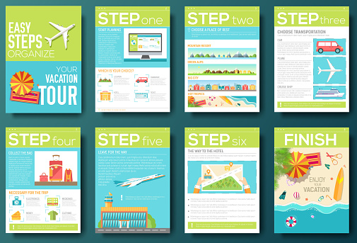 steps for your vacation tour flyer with infographics. Guide travel
