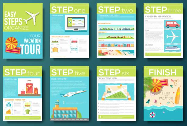 schritte für ihren urlaub-flyer mit infografiken. travel guide - fotografieanleitungen stock-grafiken, -clipart, -cartoons und -symbole