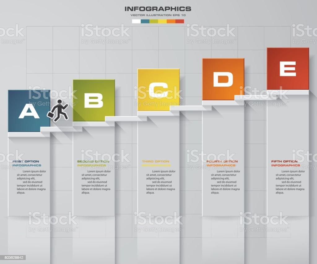 Ilustrao de 5 passos da escadaria de inferior para superior layout 5 passos da escadaria de inferior para superior layout de modelogrfico ou web ccuart Choice Image
