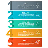 istock 5 steps info graphic with business icons and copy space. Infographics template with outline numbers. Five parts or options for menu and  workflow layout design. Vector illustration. 1253207822