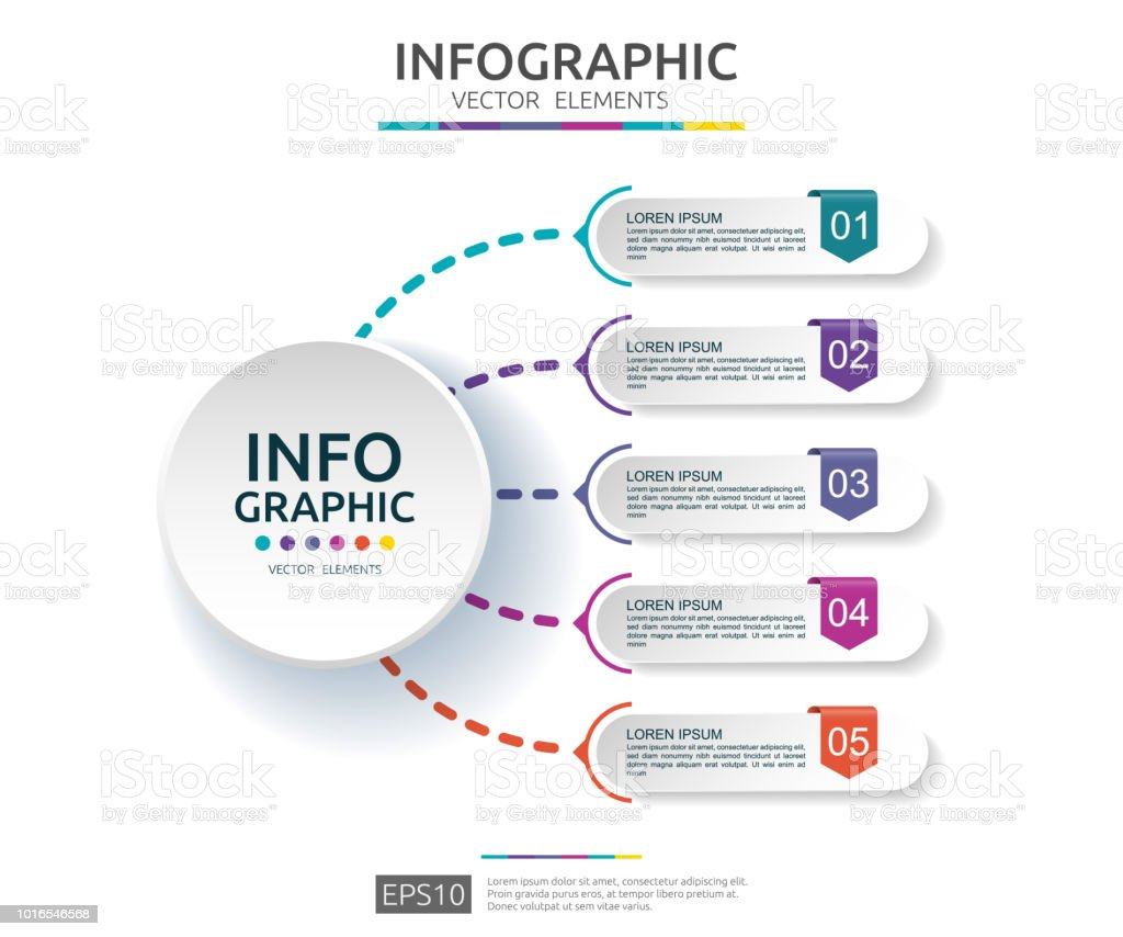 5 steps infographic timeline design template with 3d paper label