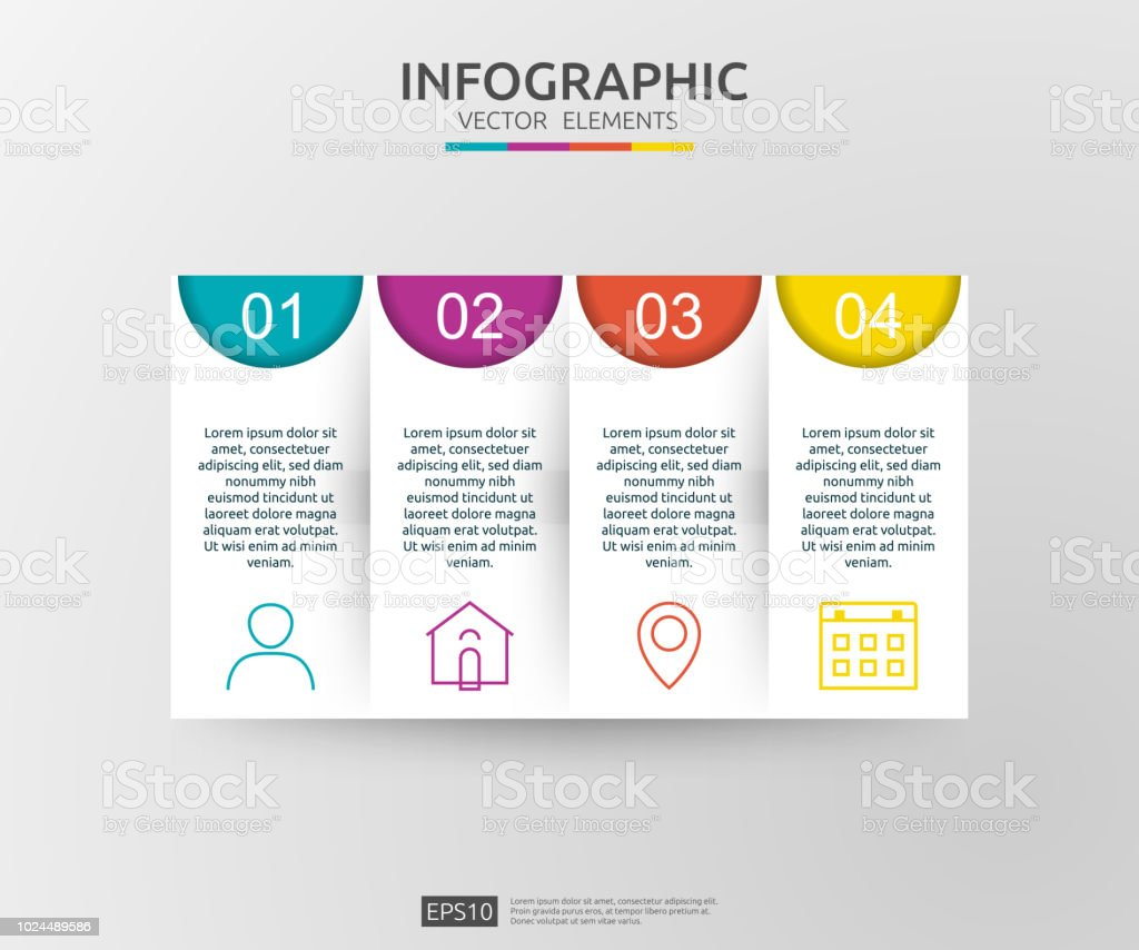 4 steps infographic timeline design template with 3d paper label
