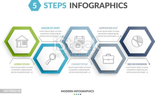 Infographic template with 5 hexagons with line icons, process chart, vector eps10 illustration