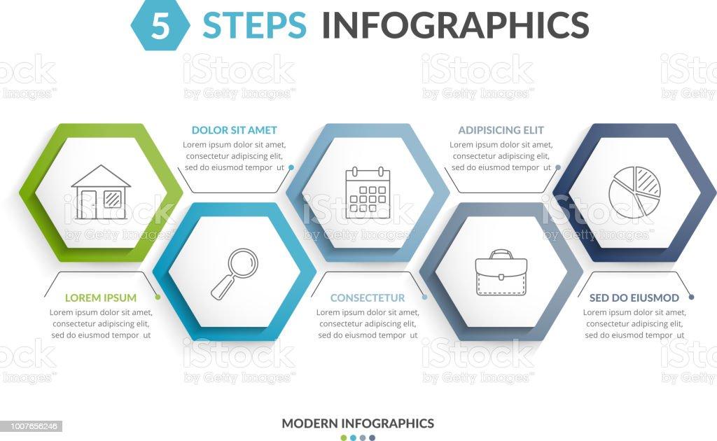 5 Steps Infographics – artystyczna grafika wektorowa