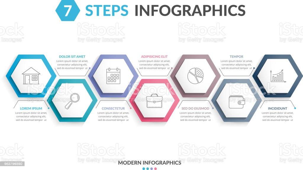 7 Steps Infographics - illustrazione arte vettoriale