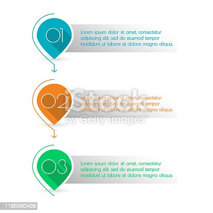 istock 3 steps, levels or option with arrows. Map markers with numbers. Colorful number bullet points set. Menu interface for web design. Infographics template for business presentation. Vector illustration. 1185590458