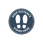 Steps on floor in circle, keep distance in line, stand here sign, queue order, vector icon