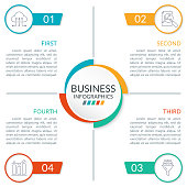 4 steps or parts infographic design with  circles and space for text. Business presentation, information brochure, banner, workflow layout template. Vector illustration.