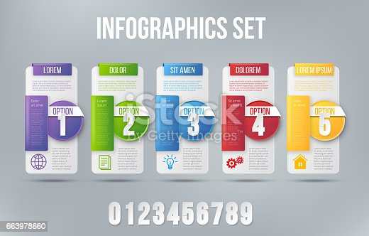 Colored 5 steps card infographic design vector and business marketing icons for workflow, diagram, milestones layout, web design or prints.