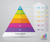 6 steps pyramid with free space for text on each level. infographics, presentations or advertising. EPS10.