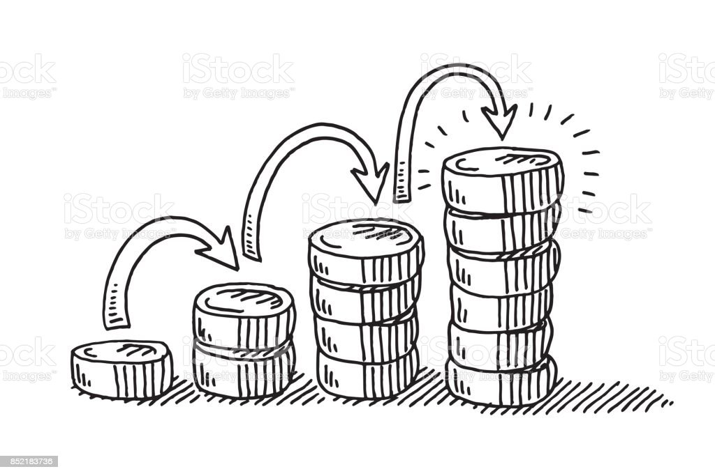 Steps To Financial Success Coins Drawing vector art illustration