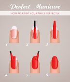 6 steps to paint nails, vector tutorial template