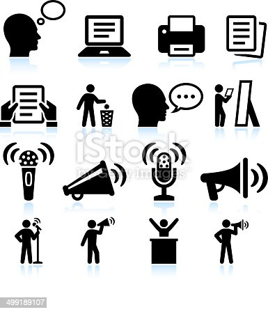 Steps to Public Speaking and Practice interface icon Set This editable vector file features black icons on white background. The icons are organized in rows and can be used as app icons, online as internet web buttons, and in digital and print.