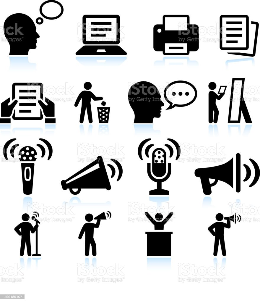 Steps to Public Speakings and Practice vector interface icon set vector art illustration