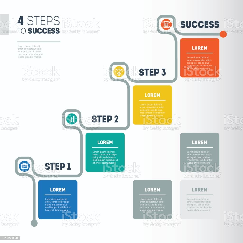 Steps To Success Business Timeline Info Graphic Template - Timeline graphic template
