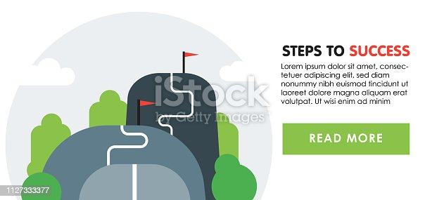 Steps to success banner concept. Next level, upgrade reach goal, higher and better, motivation and improvement, long term ambition, future aspiration, vector flat illustration.