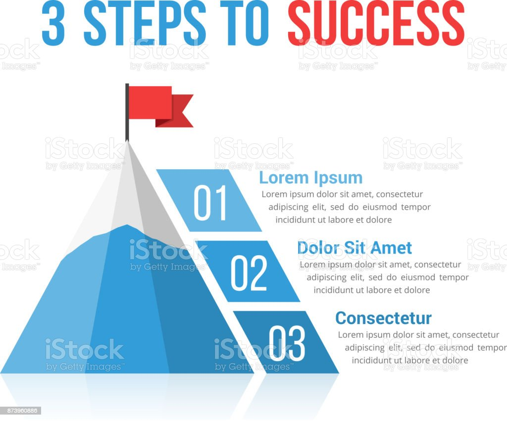 3 Steps to Success vector art illustration