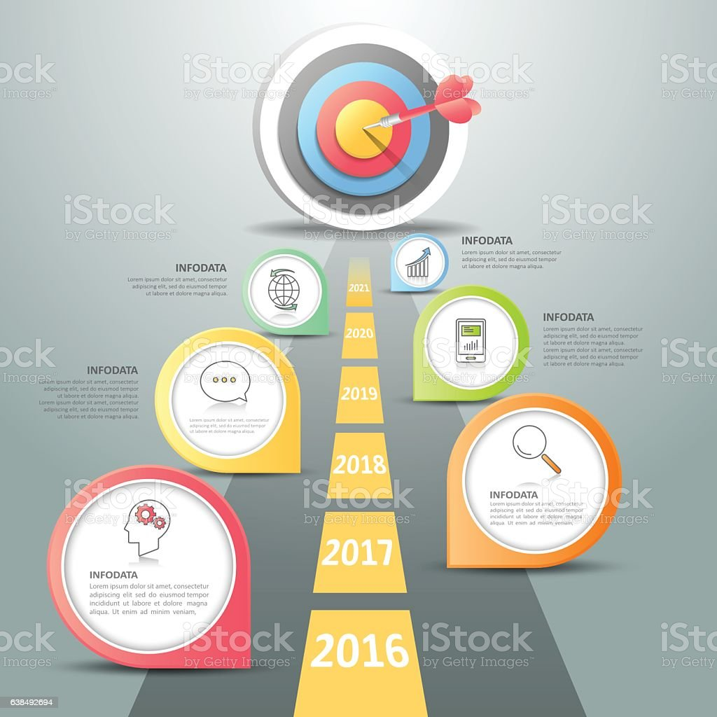 Steps to target infographic 6 options, Business concept infographic vector art illustration