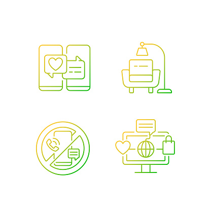 Steps towards healthy living gradient linear vector icons set