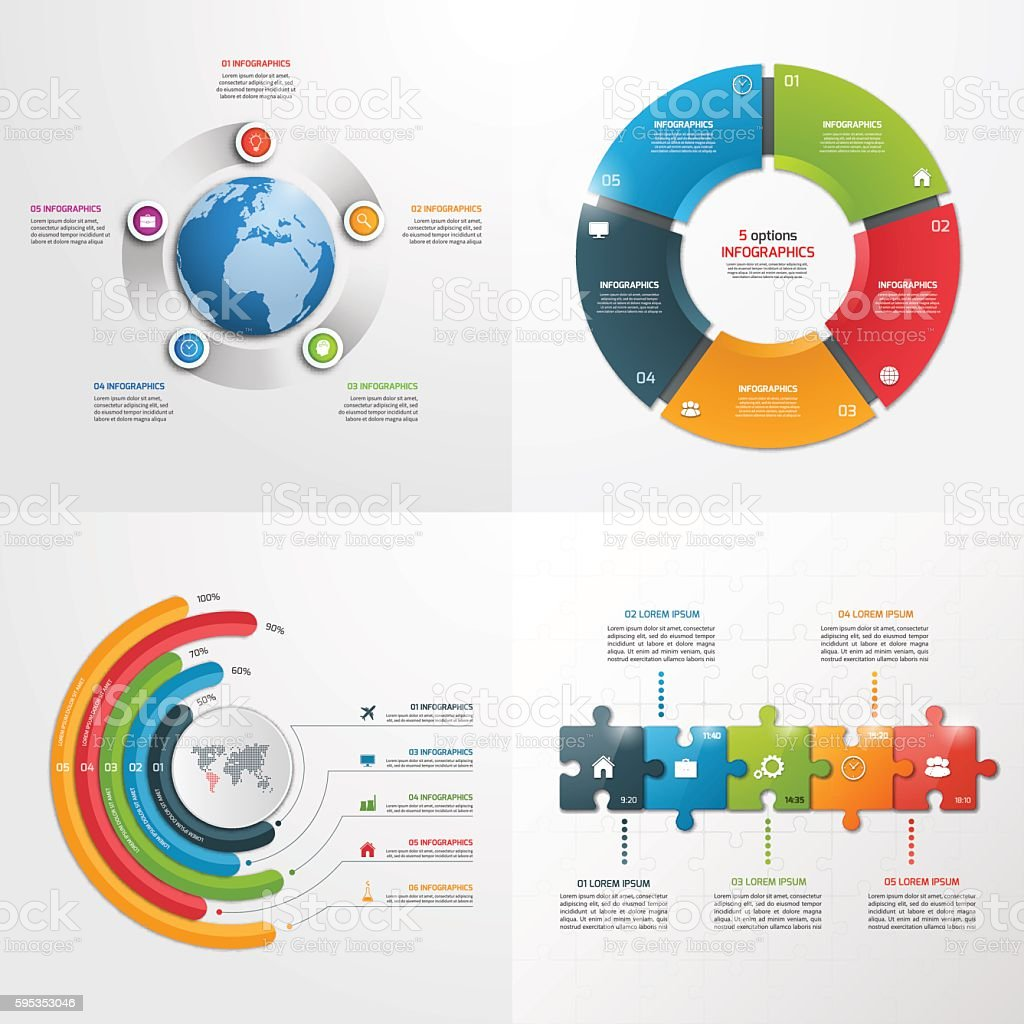 5 steps vector infographic templates business concept ひらめきの