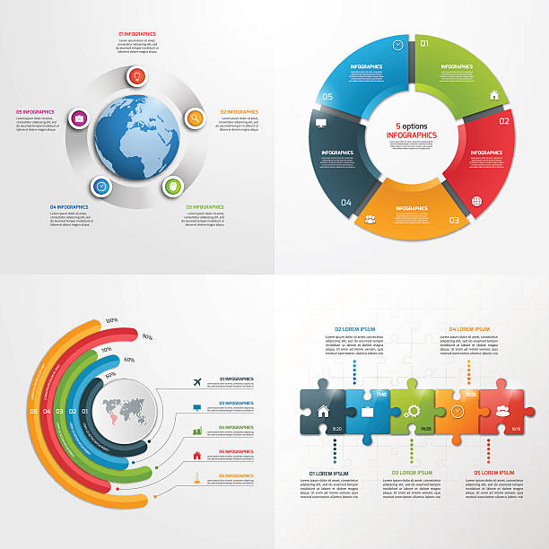 5 steps vector infographic templates. Business concept. ベクターアートイラスト