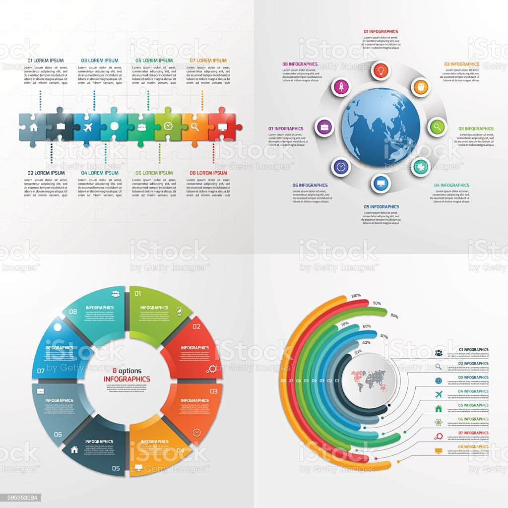 8 steps vector infographic templates. Business concept. vector art illustration